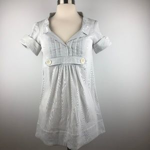 Zara Blue Striped Babydoll Shirt Tunic XS